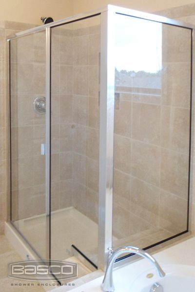 Basco Classic Thinline Enclosure featuring Continuous Hinge Notched Panel Frameless door Clear & 57 best Basco Door Installations images on Pinterest | Shower cabin ...