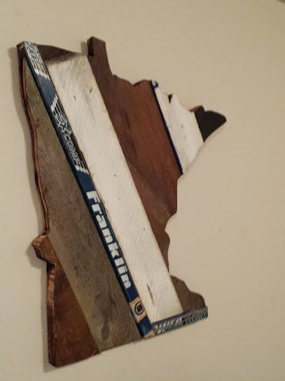 Minnesota State of Hockey - Reclaimed Wood - Old Wood New Art -  Minnesota Wild Hockey - Minnesota Gopher Hockey - Franklin Stick- MN #33 by OldWoodNewArt on Etsy https://www.etsy.com/listing/219219130/minnesota-state-of-hockey-reclaimed-wood