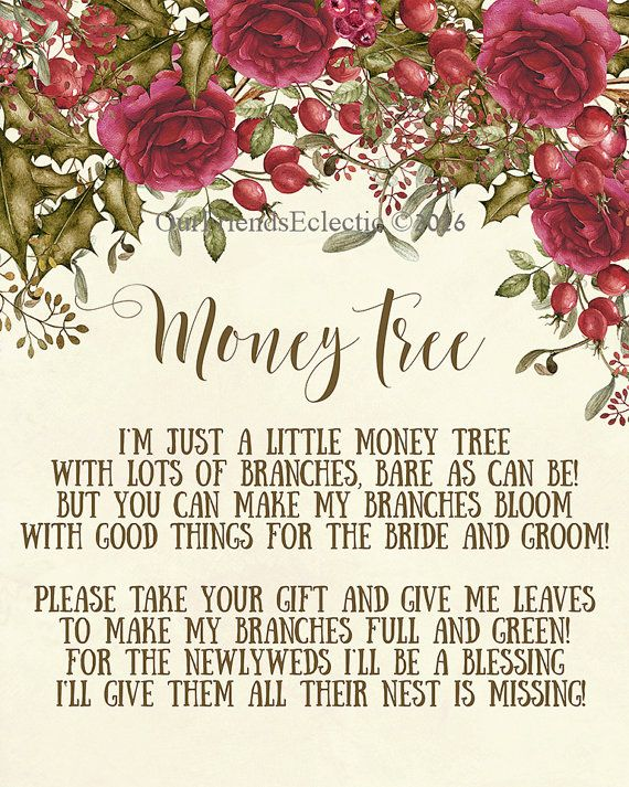 Wedding Gift Poem For Dollars : print, money tree sign digital, christmas money tree sign, wedding ...