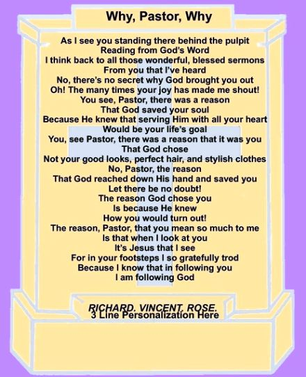 """Pastor Appreciation Day 2013   From Richard.Vincent.Rose.: The Story Behind """"Why, Pastor, Why"""""""