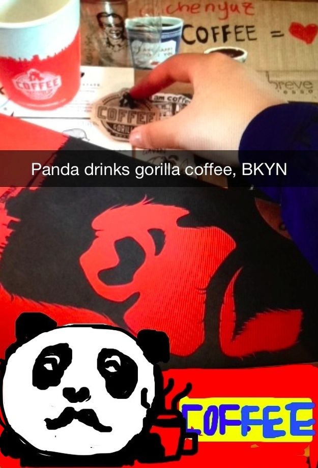 [Park Slope] @Gorilla Coffee - Maple Latte and an unforgettable logl | Community Post: 15 Extraordinary NYC Coffee Shops In Snapchat Drawings (Brought To You By Mustache Panda)