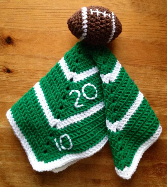 Boy's Crochet Baby or Toddler Football Security Blanket, Lovey  Football blanket Baby gift