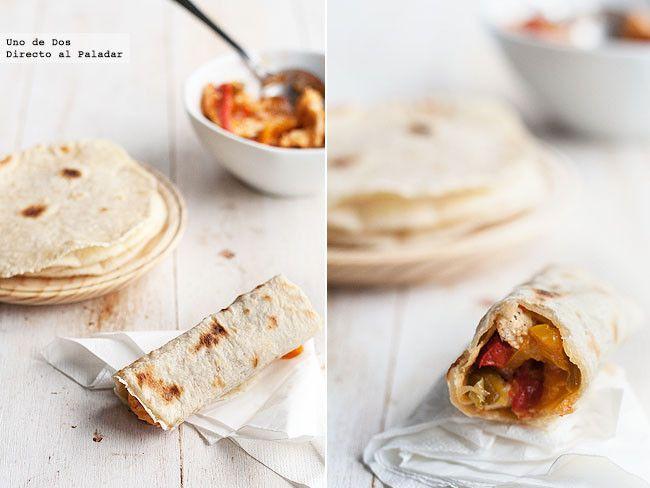 Fajitas de pollo con verduras. Receta mexicana.Receta con fotos del paso a paso y sugerencias de presentación.Trucos y consejos. Recetas mexicanas