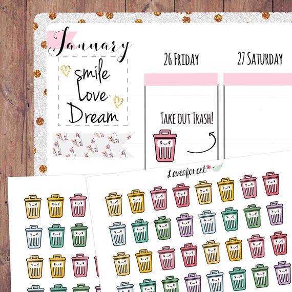 garbage sticker, garbage  planner sticker, trash can sticker, recycling sticker, life planner,  happy planner sticker, erin condren, CH002
