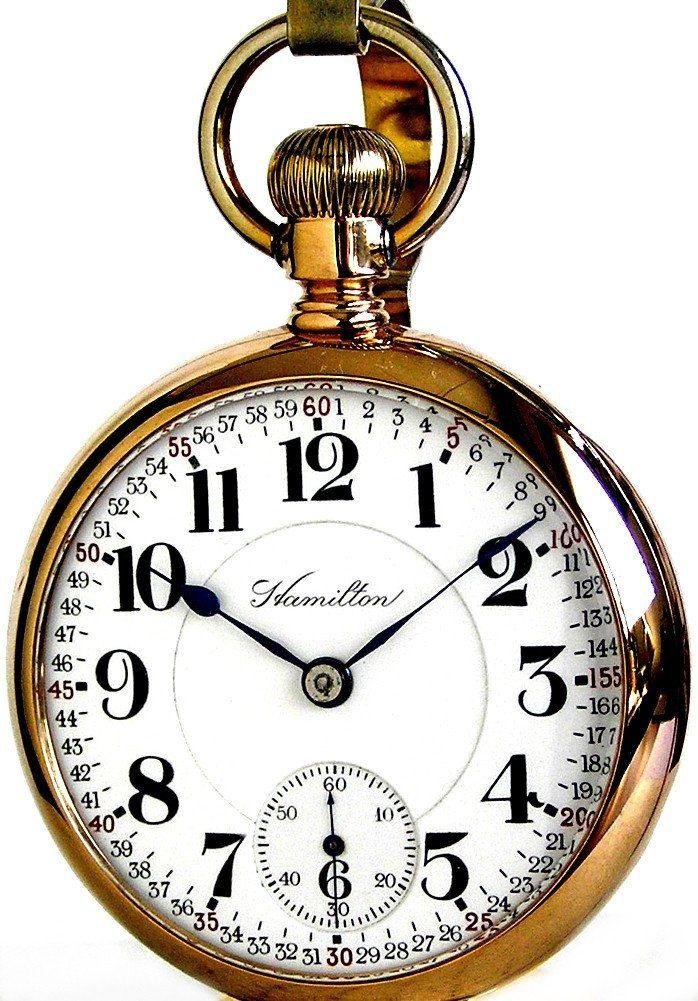 c.1908 : Hamilton 946 Antique Railroad Pocket Watch 18 Size 23 Jewels 14K Solid Gold Case Ca 1908