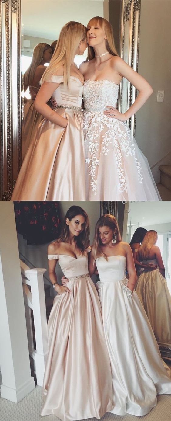 f5831cd6298 Honorable Off the Shoulder Floor Length Pearl Pink Prom Dress with ...
