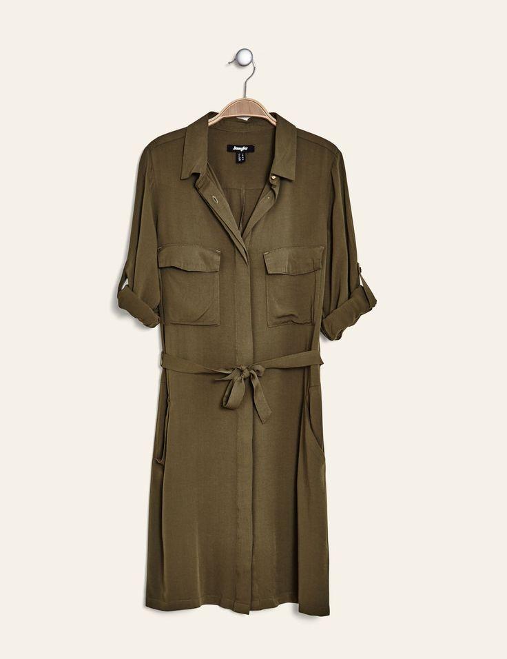 robe chemise fluide kaki - http://www.jennyfer.com/fr-fr/vetements/robes/robe-chemise-fluide-kaki-10013412033.html