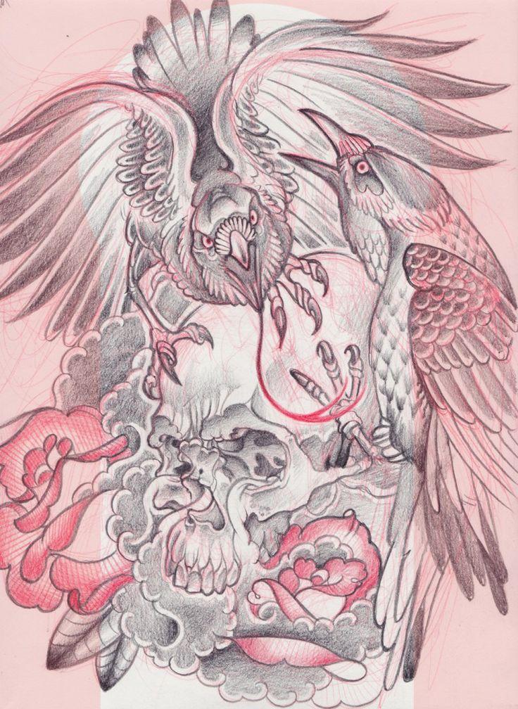 Birds Skull Neo Traditional | Half Sleeve Tattoo Ideas ) | Pinterest | Neo Traditional And ...