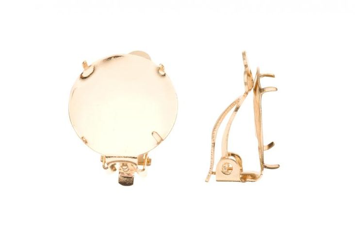 Clip On Earring Findings With 16mm Bezel Pad Gold Finished