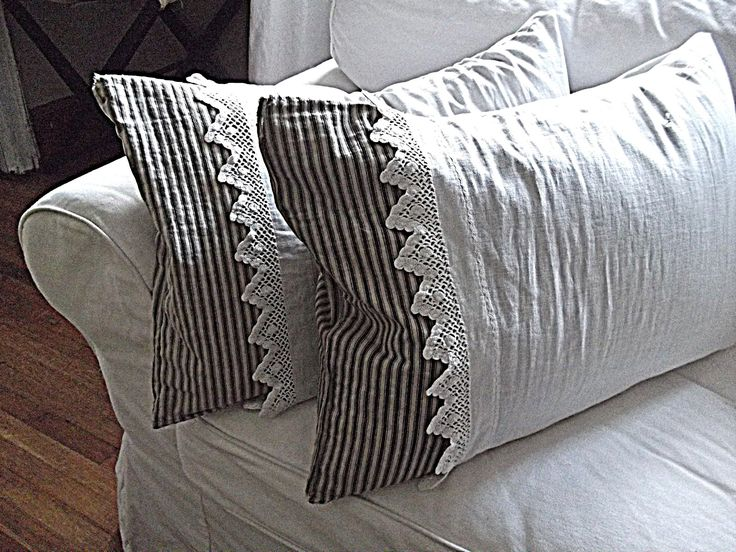 Rustic Farmhouse~ticking.  I really need to do this with my ticking fabric