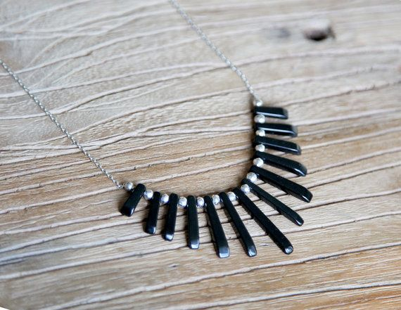Black onyx, pyrite and sterling silver fan necklace