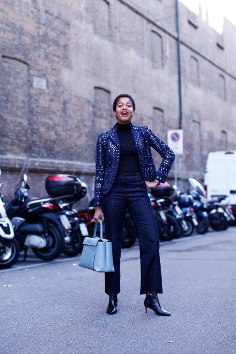 For day two of Milan Fashion Week I wore a Valentino jacket and jeans, a cozy Cos turtleneck, Marella boots and my favorite Valextra bag. Get the look with my lyst.