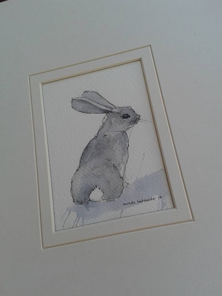 ORIGINAL watercolour painting ref : grey rabbit available R155.00 michele african.artist@gmail.com