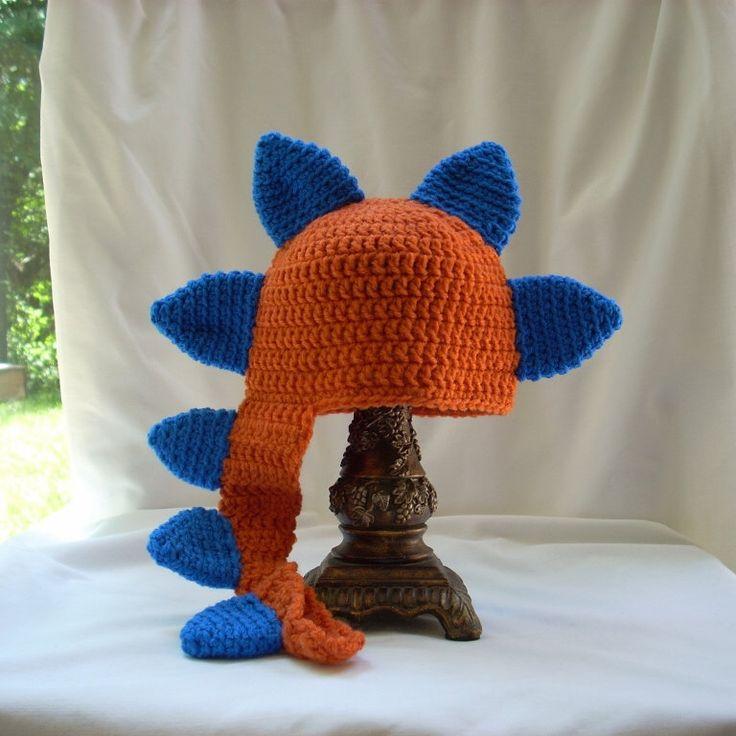 Baby Dinosaur Hat, Crochet Dragon Hat, Crochet Animal Hat, Baby Boy's Animal Hat, Baby Crochet Hat, Orange Baby Boy Hat, Costume Hat by LiLphaniesLine on Etsy https://www.etsy.com/listing/295231855/baby-dinosaur-hat-crochet-dragon-hat