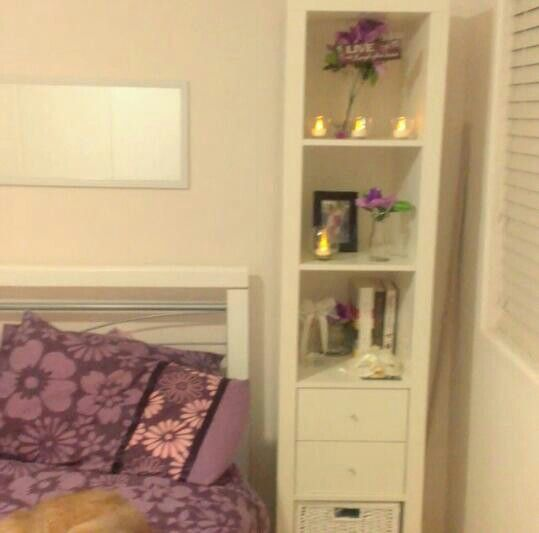 Ikea Expedit shelving unit. Purple. Floral. Girls bedroom. Elegant