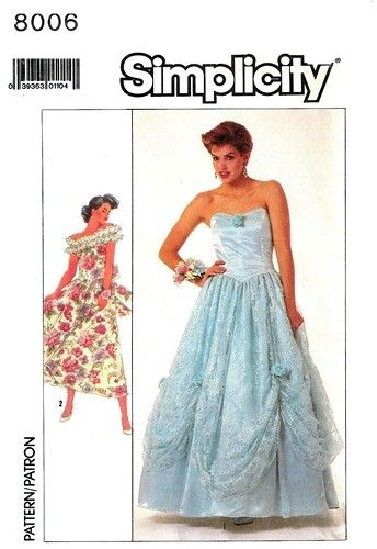 Unique Simplicity Fancy Strapless or Off Shoulder Ball Gown Dress vintage retro sewing pattern wedding