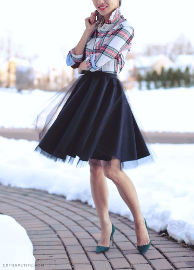 ExtraPetite.com - Holiday Tutorial: DIY Full Circle Skirt with Tulle Overlay