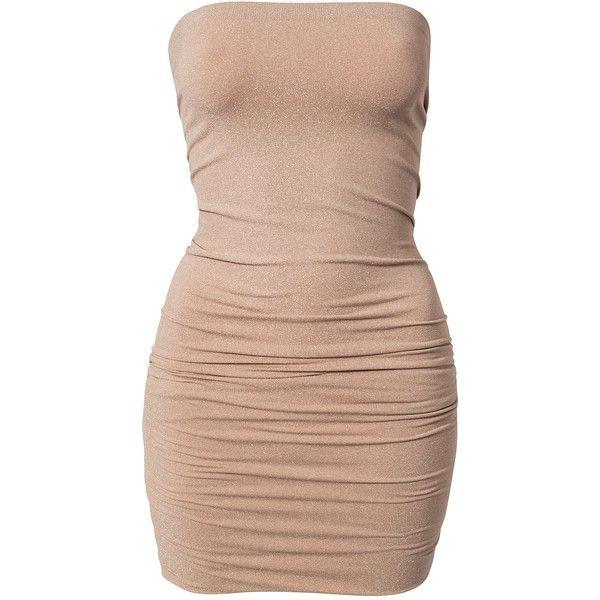 Vila Seam Lurex Dress (£23) ❤ liked on Polyvore featuring dresses, party dresses, cream, womens-fashion, stretch dress, cream dress, beige cocktail dress, vila and vila dress