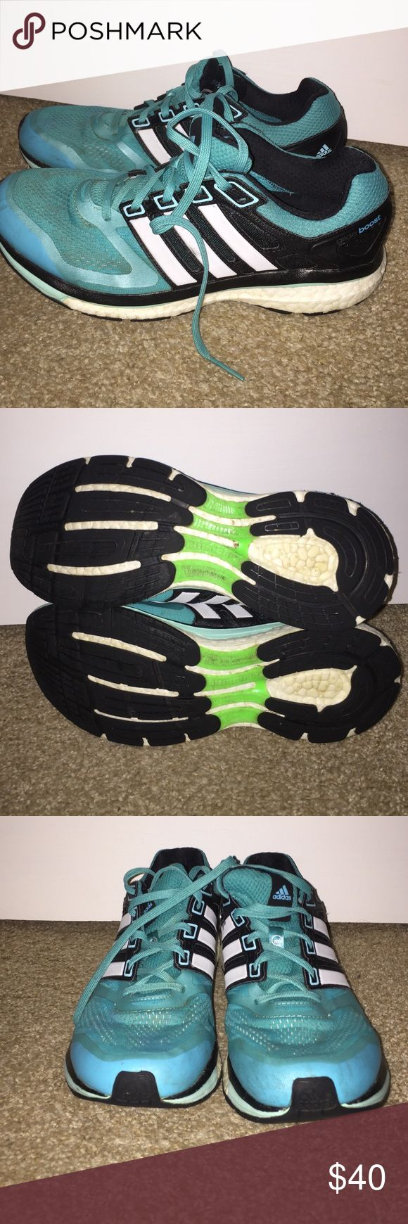Adidas Glide Boost shoes Only worn a few times, teal colored with black accents. Women's 9.5. Adidas Shoes Athletic Shoes