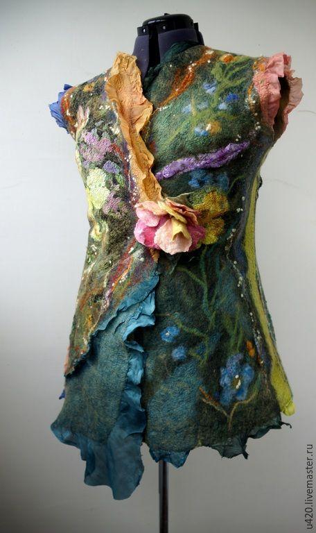 """Купить Валяный жилет """"Лесная Фея - 2"""" - разноцветный, цветочный, войлочный жилет, нуновойлочный жилет"""