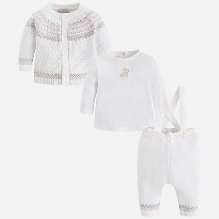 Knitted Jacket And Pant With Suspender, Cotton Top