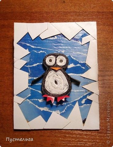 torn paper background, quilled or could be yarn huichol penguin with white paper mask