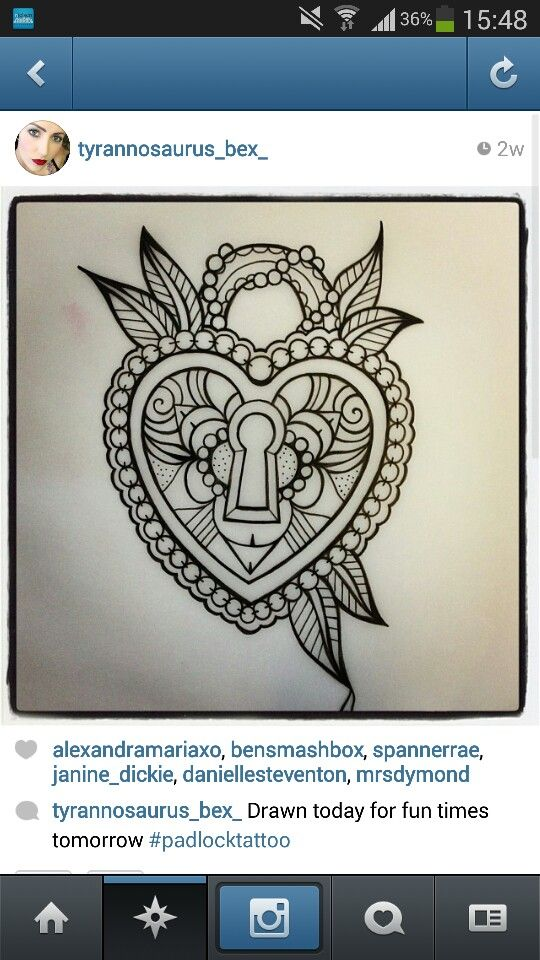 Heart padlock tattoo...needs peacock feathers and flowers somehow