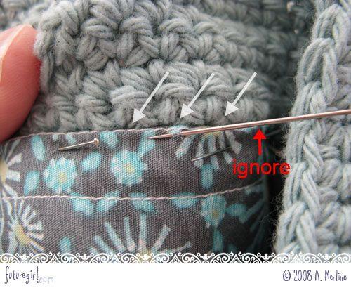 Tutoriel: coudre une doublure(à la main) dans un sac au crochet -très bon tutoriel pas-à-pas photos (en anglais)