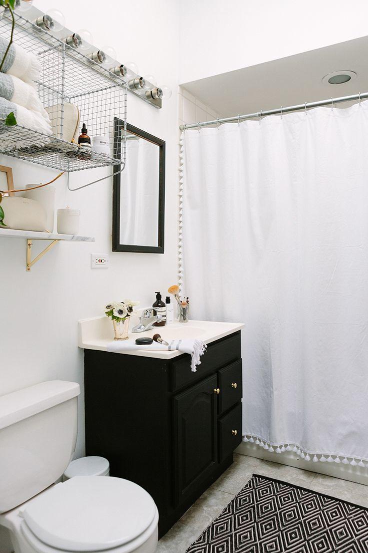 The Everygirl Cofounder Alaina Kaczmarski's Greystone Home Tour | Tassel Shower Curtain via Serena & Lily | Image via The Everygirl