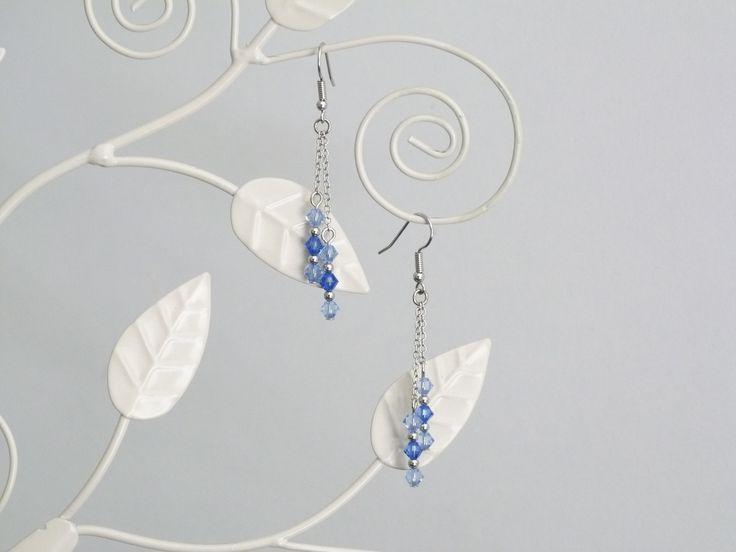 Boucles d'oreilles bleues en cristal Swarovski