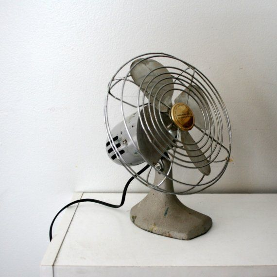 vintage 50s Small Silver Metal Electric Fan by littleveggievintage