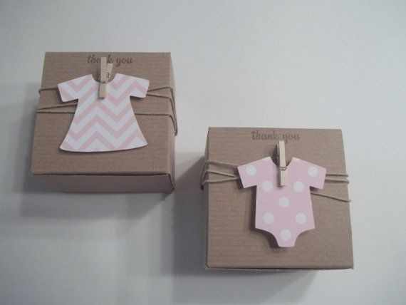 Onesie Dress Favor Baby Shower box chevron polka by CrazyPaperLove