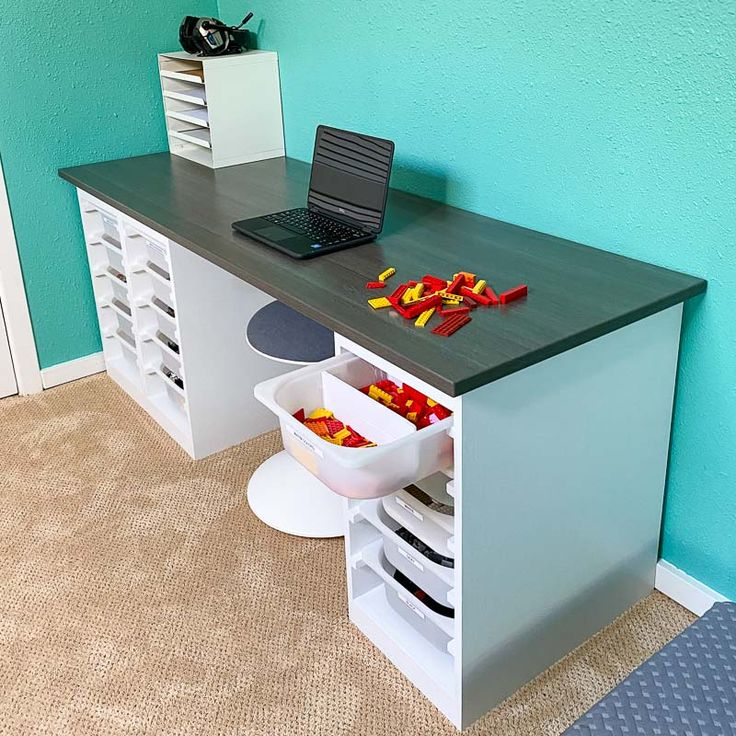 DIY Desk with Storage Bins in 2020 Diy desk, Craft