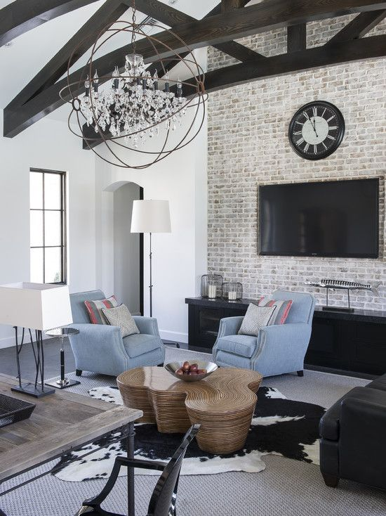 Rustic Living Room By Studio Sofield By Architectural: Rustic Beams, Brick Accent Wall