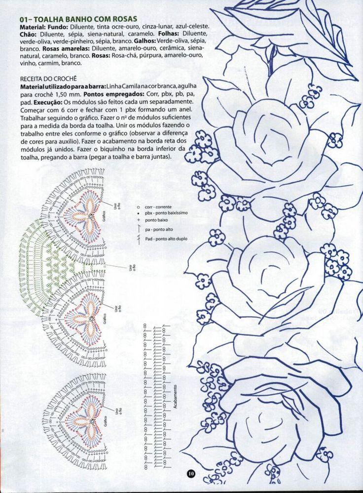 Toalha com barra de rosas pintadas