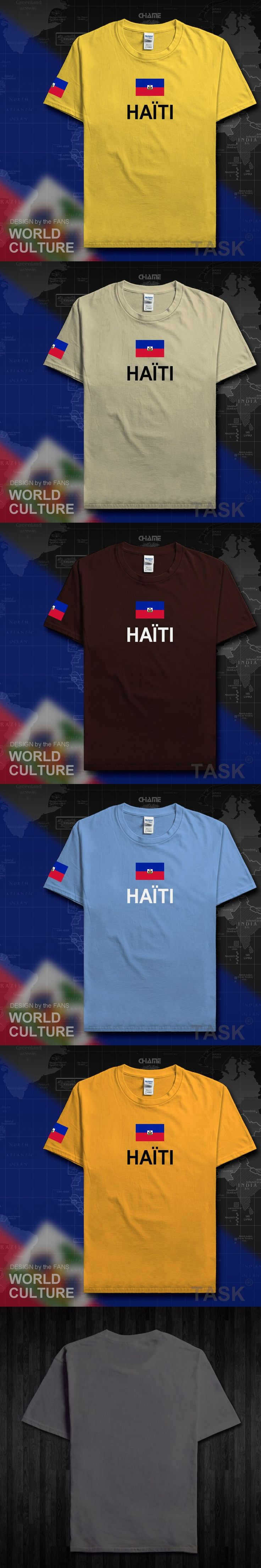 Haiti Haitian t shirt man 2017 t-shirt cotton nation team 100% cotton tshirt gyms clothing fans fitness Hayti Ayiti country flag