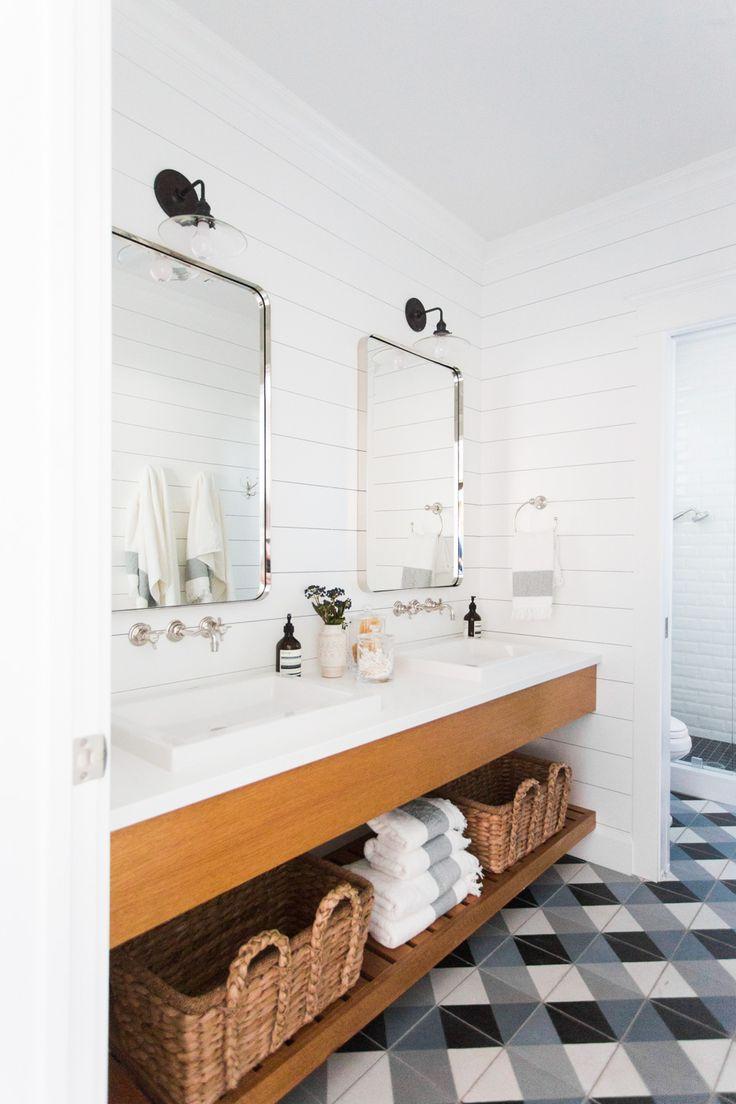 Plaid tile, shiplap, and floating wood vanity || Studio McGee