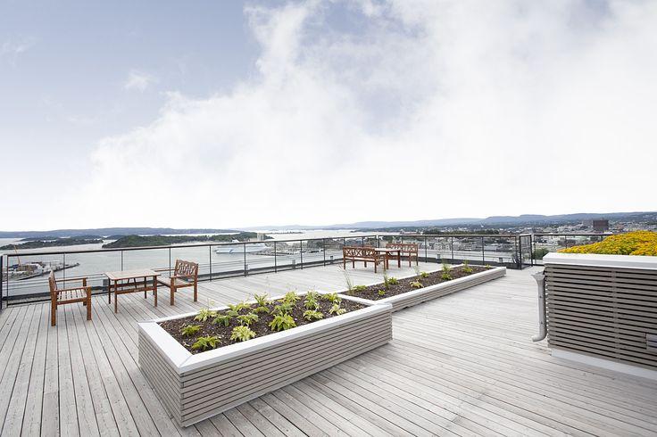 Takterrasse - panoramautsikt over hele byen