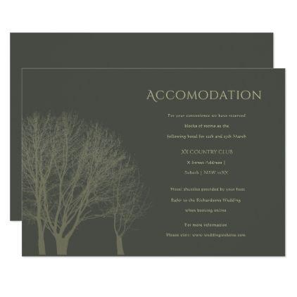 #invitations #wedding #bridalshower - #ELEGANT GREY GOLD FALL AUTUMN TREES ACCOMODATION CARD