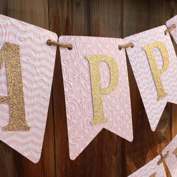 Pink and Gold birthday banner, Happy Birthday Banner, First Birthday banner, Pink and Gold Birthday, Pink and Gold Birthday