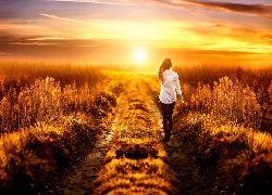 Zachód, Słońca, Polna, Droga, Kobieta