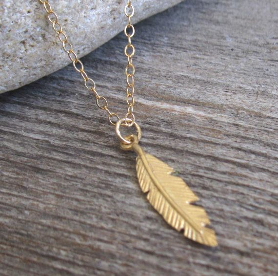 "Men's Necklace - Gold Filled Feather Pendant - Mens Jewelry - Feather Jewelry - Feather Necklace - Gift For Him  Looking for a gift for your man? You've found the perfect item for this!   The simple and beautiful necklace features gold filled chain with a feather pendant.  Length: 19.6"" (50 cm).  Item will arrive in a pretty gift box as shown in last image, ready to give, with my brand logo.  $35"