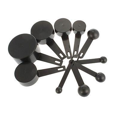 EUR € 8.90 - Negro plástico cucharas de medir Copas de medición establecida Herramientas para Hornear Café (10pcs/set), ¡Envío Gratis para Todos los Gadgets!