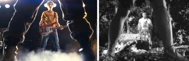 """CITAZIONI. Prende a piene mani da vari """"media"""". Un esempio?  I samurai di Kurosawa e i western di Leone. L'aveva inventata Akira Kurosawa, l'ha ripresa (e non solo quella) Sergio Leone e da lì tutto il mondo del western l'ha adottata, è l'inquadratura da duello, quella che vede il protagonista incorniciato nel triangolo formato dalle delle gambe dell'avversario. Poteva forse mancare in una delle tante battaglie affrontate da Scott? L'arma in più? Al posto di pistole o spade un basso."""