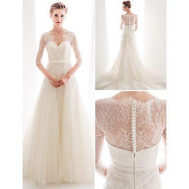 bruiloft jurk een lijn rechtbank trein kant en tule koningin anne hals bruidsjurk met sjerp – EUR € 229.99