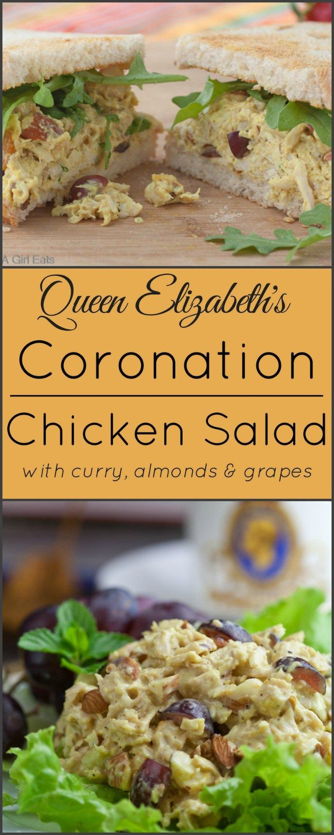 Coronation Chicken Salad is a copy cat version of the recipe used for Queen Elizabeth's coronation. (Favorite Pins Food Drink)