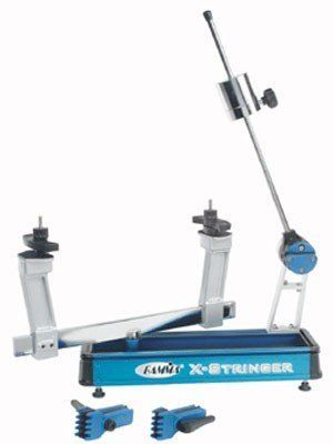 Gamma X-2 Tennis Stringing Machine by Gamma. $169.00. Amazon.com                This tabletop tennis racquet stringing machine features strong, lightweight extruded aluminum construction and diamond-coated rotational ratchet gripper. The X-2 includes tools (pathfinder awl, straight awl, hex wrenches, straight pliers, and razor knife), and a built-in tool tray and drawer. A drop weight tensioning mechanism has a nine-to-90-pound range, and the turntable rotates 360 degree...