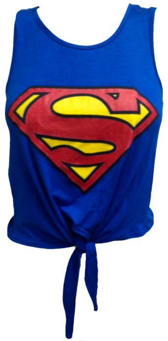 Camiseta chica top Superman logo, azul Camiseta sin mangas y para atar en la cintura, muy sexy del logo de Superman sobre un fondo azul.