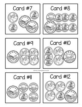 $ Canadian Money Game - Sums to $5: Includes 28 task / SCOOT! cards and a recording sheet.