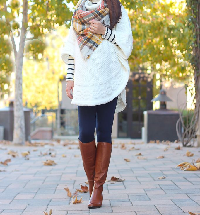 Cable Knit Poncho and Navy Textured Leggings